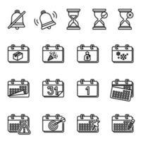 kalender en datumpictogram ingesteld op vector afbeelding witte achtergrond.