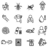 knokkelkoorts en symptomen met vector afbeelding preventie icon set.