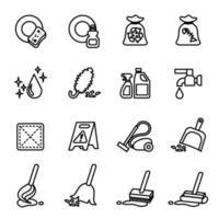schoonmaak pictogrammenset met vector afbeelding witte achtergrond.