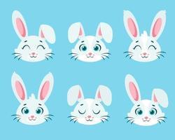 schattige konijntjes collectie. witte konijnen. vector illustratie