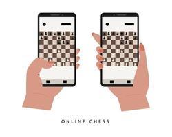 Siciliaanse verdediging platte vector. mobiel schaakspel.