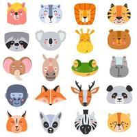 vectorillustratie van verzameling hoofden van diverse soorten wilde dieren op witte achtergrond