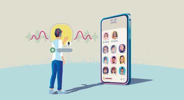 een man gebruikt een koptelefoon, luistert naar een smartphone, scherm toont de status van mensen die sociale netwerktoepassingen gebruiken vector