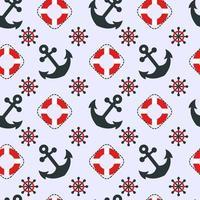naadloze nautische patroon met ankers vector