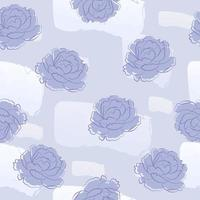 paarse pioenroos en abstract vorm naadloos patroon vector