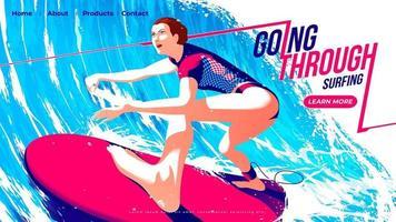 vectorillustratie voor ui of bestemmingspagina van surfsport, vrouwelijke surfer die de surfplank door de tunnel van de grote golf met vastberadenheid berijdt. vector