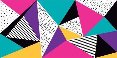 Memphis kleurrijke driehoeken achtergrond vector