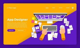 app-ontwerper die website-mockup ontwikkelt