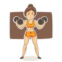 Cartoon Vrouw Bodybuilder Vector