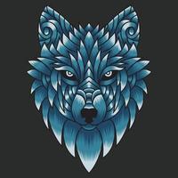abstract kleurrijk ornament doodle kunst wolf illustratie cartoon concept vector. geschikt voor logo, behang, tatto, achtergrond, kaart, boekillustratie, t-shirtontwerp, sticker, omslag, enz vector