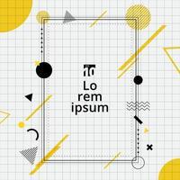 creatieve sjabloon rechthoek frame grens gele en zwarte geometrische cirkel, driehoek, lijn op raster achtergrond memphis stijl. vector