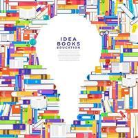 kleurrijke stapels boeken in de vorm van een gloeilamp. boeken bevatten ideeën