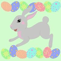paashaas met gekleurde eieren. easter symphol. vector. schattig grijs huisdier.
