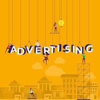 team hard aan het werk om het woord reclame op te bouwen vector