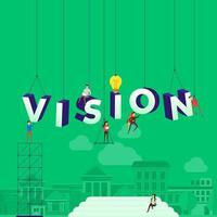 team hard aan het werk om het woord visie te construeren