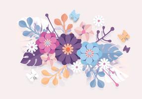 3d bloemen papercraft vector