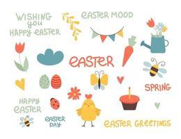 set van schattige Pasen stripfiguren en ontwerpelementen. pasen-letters, kip, eieren en bloemen. vector illustratie.