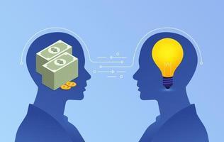 platte ontwerpconcept van zakelijke deal. uitwisseling tussen geld en ideeën vector