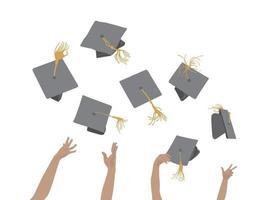afstuderen viering pet gooien afbeelding afbeelding vector