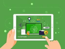 online onderwijs met behulp van een tablet vector