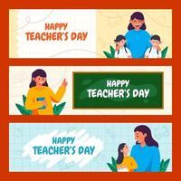gelukkige lerarendag banner collectie vector