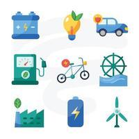 groene technologie pictogrammenset in plat ontwerp vector