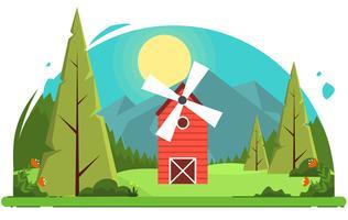 Vector kleurrijke landschap illustratie