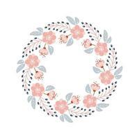 lente en zomer bloemenkruid krans. plat abstract vectortuinframe, de romantische vakantie van de vrouwendag, de kaartdecoratie van de huwelijksuitnodiging.