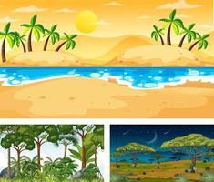 set van verschillende natuurlandschapsscènes