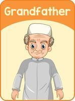 educatieve Engelse woordkaart van grootvader