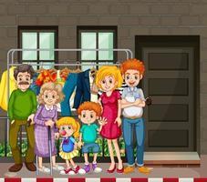 openluchtscène met gelukkige familie