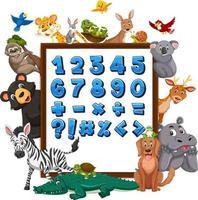 nummer 0 tot 9 en wiskundige symbolen op banner met wilde dieren