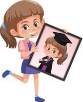 stripfiguur van een meisje dat haar afstudeerportretfoto vasthoudt