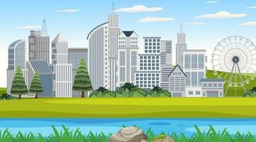 lege het landschapsscène van het natuurpark met stadsgezicht achtergrond