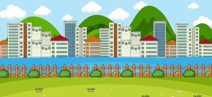 horizontale scène met park en stadsgezicht achtergrond
