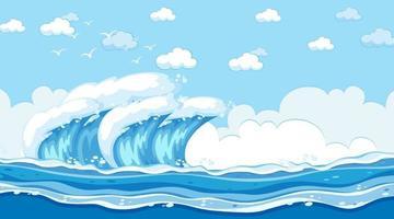 strandlandschap bij dagtijdscène met oceaangolf vector