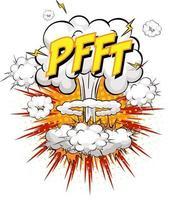 pfft tekst op komische wolk explosie geïsoleerd op een witte achtergrond
