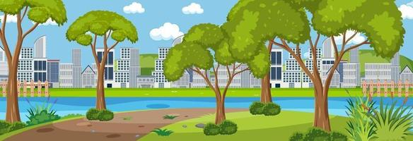 stadspark horizontale scène met stadsgezicht achtergrond in dagtijd