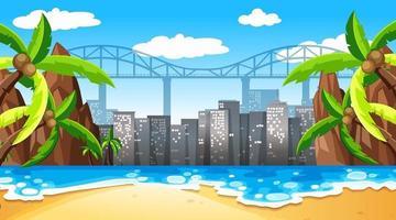 tropisch strand landschapsscène met stadsgezicht achtergrond