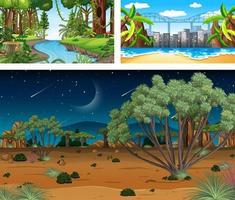 verschillende natuur horizontale scènes in cartoon-stijl