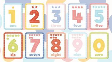 afdrukbare kleurrijke educatieve nummer flashcard set vector