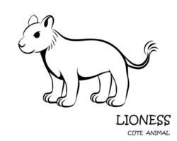 zwarte vector van schattige leeuwin eps 10.