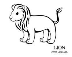 zwarte vector van schattige leeuw eps 10.