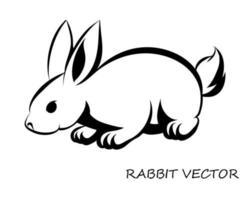 zwarte vector van konijn eps 10.
