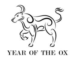 jaar van de os lijntekeningen vector eps 10