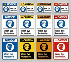 teken dragen oogbescherming op een witte achtergrond
