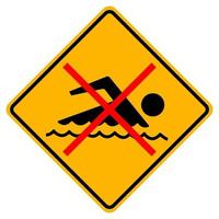teken verboden om te zwemmen op witte achtergrond