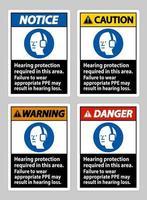 gehoorbescherming vereist in dit gebied, kan het niet dragen van geschikte PBM leiden tot gehoorbeschadiging vector