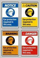 oogbescherming vereist in dit gebied op een witte achtergrond