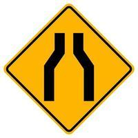 vernauwing van het wegverkeer symbool teken isoleren op witte achtergrond, vector illustratie